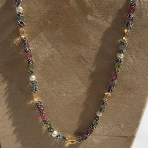 Sterling silver and multi-gem necklace